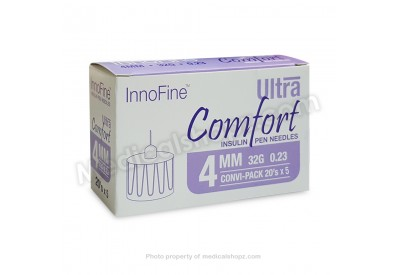 INNOFINE Ultra Comfort Insulin Pen Needles 4MM x 32G x 0.23 (CONVI-PACK 20's x 5)