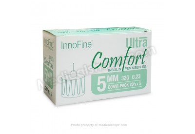 INNOFINE Ultra Comfort Insulin Pen Needles 5MM x 32G x 0.23 (CONVI-PACK 20's x 5)